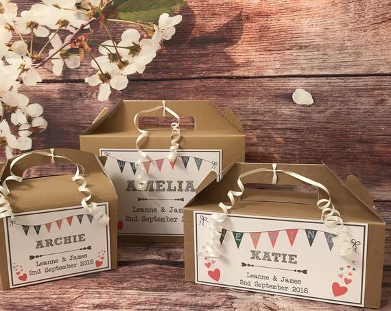 Personalised Wedding Favour Gift Box Childrens Activity Brown Kraft Box Wedding Bunting