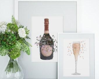Kitchen A3 Art Poster Print Deco Rose Wine Art Art Poster