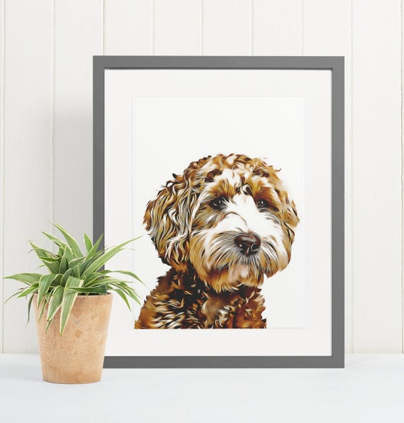 Labradoodle | Art Print Poster | Room Decor | Wall Art Print | Gift Idea | A4 & A3 | Dog | Print Only