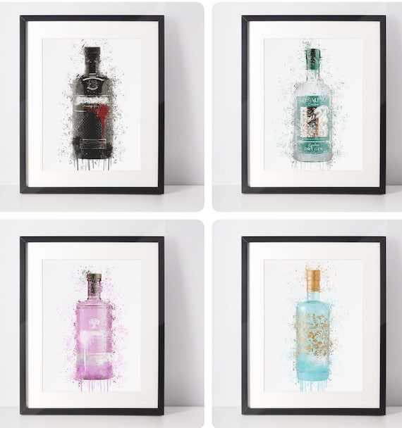 Gin Bottle Poster | Room Decor | Wall Art Print | Gift Idea | A4 & A3 | Gins | Print Only