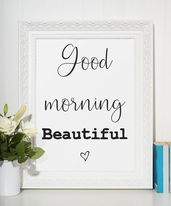 Word Poster | Room Decor | Wall Art Print | Gift Idea | A4 & A3 | Good Morning Beautiful | Print Only