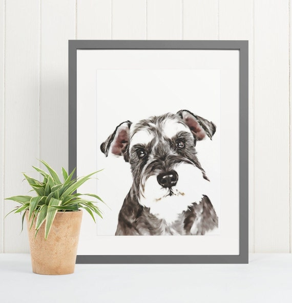 Schnauzer | Art Print Poster | Room Decor | Wall Art Print | Gift Idea | A4 & A3 | Dog | Print Only