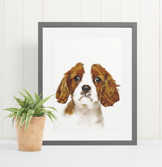 King Charles Cavalier | Art Print Poster | Room Decor | Wall Art Print | Gift Idea | A4 & A3 | Dog | Print Only