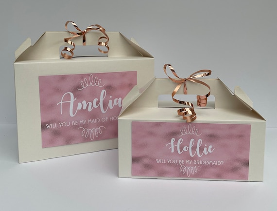 Will You Be My Bridesmaid Flowergirl Maid of Honour Rose Gold Style Gift Box