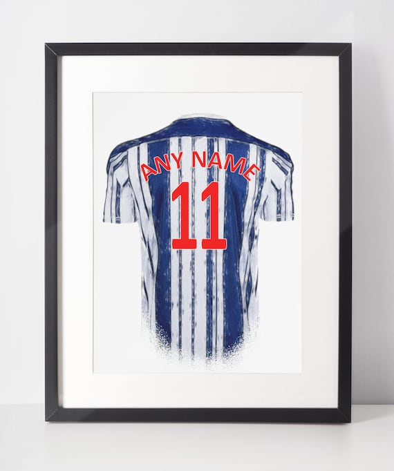 Custom Football Shirt Poster | West Bromwich Albion | Personalised | Wall Art Print | Gift Idea | A4 & A3 | 2020-2021 Home Kit | Print Only