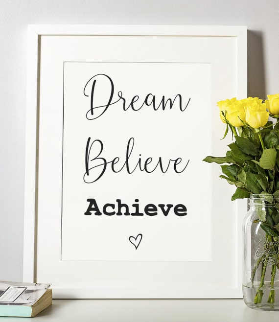 Word Poster | Room Decor | Wall Art Print | Gift Idea | A4 & A3 | Dream Believe Achieve | Print Only