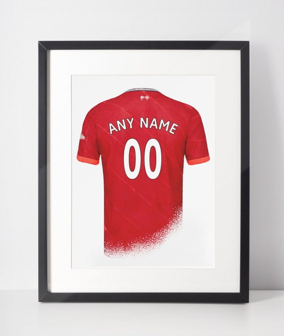 Custom Football Shirt Poster | Liverpool FC | Personalised | Wall Art Print | Gift Idea | A4 & A3 | 2021-2022 Home Kit | Print Only