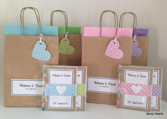 Children's Personalised Wedding Activity Pack & Matching Gift Bag Favour A6 Vintage Style Dotty