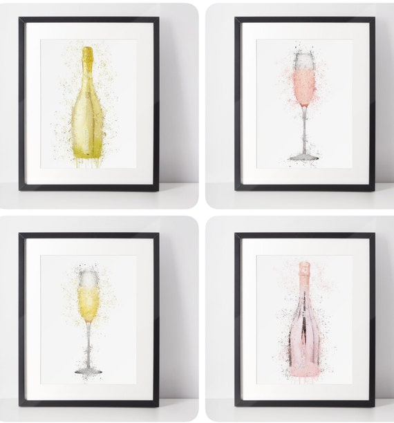 Prosecco Bottle Poster | Room Decor | Wall Art Print | Gift Idea | A4 & A3 | Prosecco | Glass | Print Only