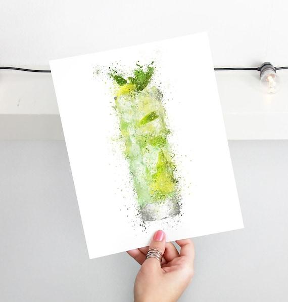 Gin Poster | Room Decor | Wall Art Print | Gift Idea | A4 & A3 | Gin High Ball Glass | Print Only