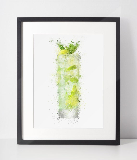 Gin Poster | Room Decor | Wall Art Print | Gift Idea | A4 & A3 | Gin High Ball Glass | Print Only