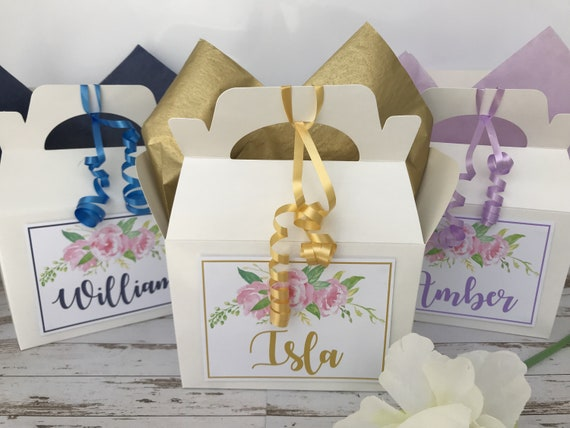 Personalised White Wedding Favour Gift Box Flowers