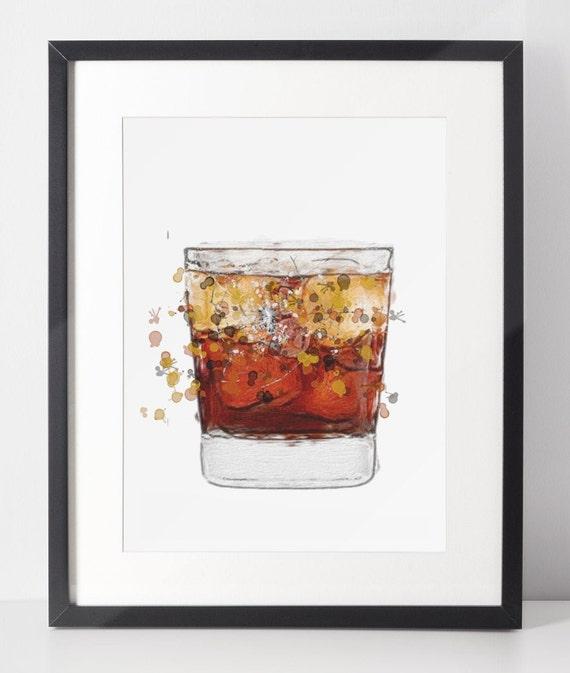 Spirit Glass Poster | Room Decor | Wall Art Print | Gift Idea | A4 & A3 | Brown Tumbler Glass | Print Only