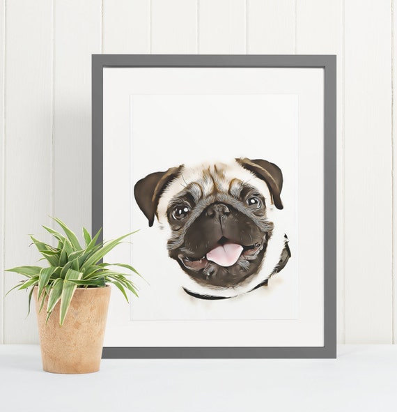 Pug | Art Print Poster | Room Decor | Wall Art Print | Gift Idea | A4 & A3 | Dog | Print Only