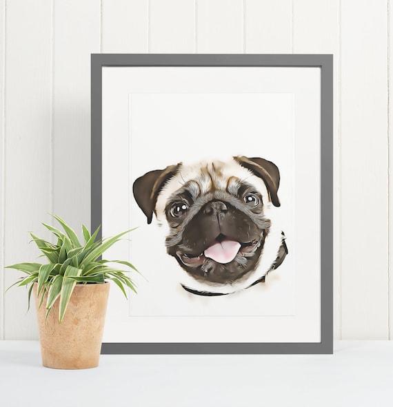 Pug | Art Print Poster | Room Decor | Wall Art Print | Gift Idea | A4 & A3 | Dog | Print Only