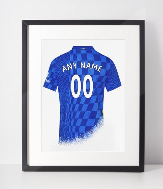 Custom Football Shirt Poster | Chelsea FC | Personalised | Wall Art Print | Gift Idea | A4 & A3 | 2021-2022 Home Kit | Print Only
