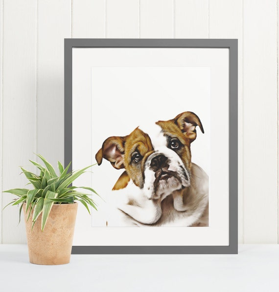 English Bulldog | Art Print Poster | Room Decor | Wall Art Print | Gift Idea | A4 & A3 | Dog | Print Only