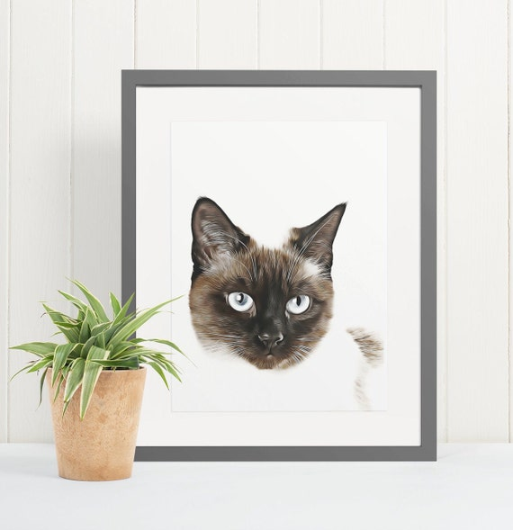 Siamese Cat | Art Print Poster | Room Decor | Wall Art Print | Gift Idea | A4 & A3 | Cats | Print Only