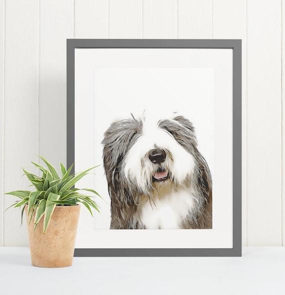 Old English Sheepdog | Art Print Poster | Room Decor | Wall Art Print | Gift Idea | A4 & A3 | Dog | Print Only