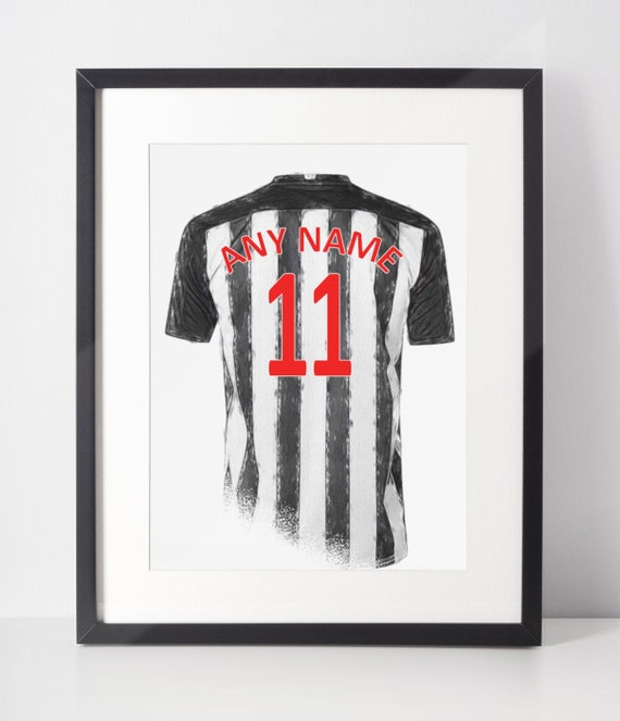 Custom Football Shirt Poster | Newcastle Utd FC | Personalised | Wall Art Print | Gift Idea | A4 & A3 | 2020-2021 Home Kit | Print Only