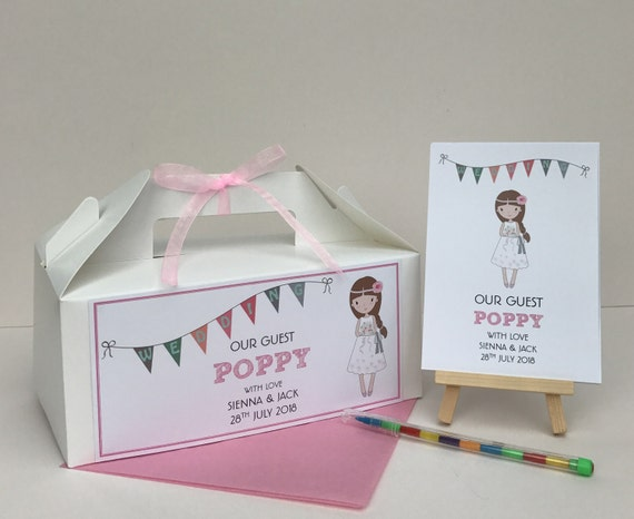 Children's Personalised Wedding Our Guest Activity Box & Pack White Kraft