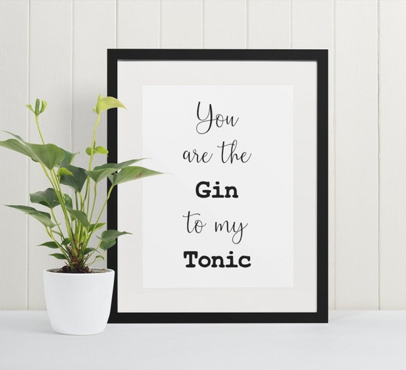Word Poster | Room Decor | Wall Art Print | Gift Idea | A4 & A3 | Gin to My Tonic | Print Only