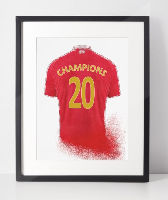 Liverpool Champions 2020 Football Shirt Poster | Liverpool FC | Wall Art Print | Gift Idea | A4 & A3 | 2019-2020 Home Kit | Print Only