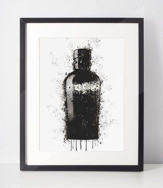 Gin Poster   Room Decor   Wall Art Print   Gift Idea   A4 & A3   Black White   Print Only