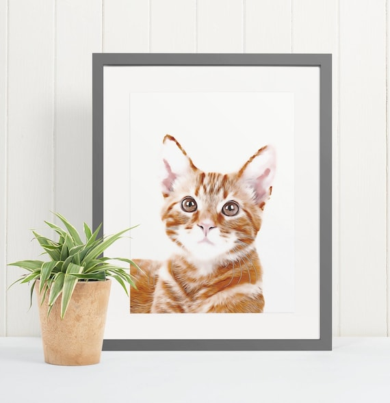 Ginger Cat | Art Print Poster | Room Decor | Wall Art Print | Gift Idea | A4 & A3 | Cats | Print Only