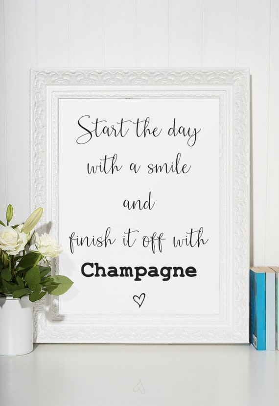 Champagne Word Poster | Room Decor | Wall Art Print | Gift Idea | A4 & A3 | Smile and Champagne | Print Only