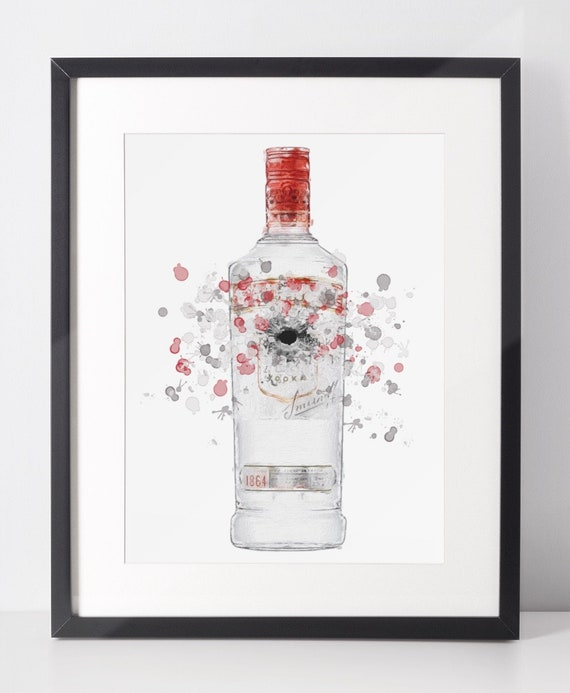 Vodka Poster | Room Decor | Wall Art Print | Gift Idea | A4 & A3 | Red | Print Only