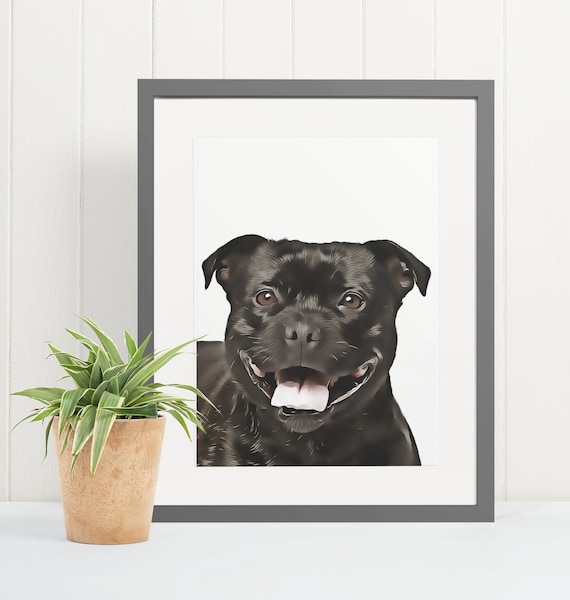 Staffordshire Bull Terrier | Art Print Poster | Room Decor | Wall Art Print | Gift Idea | A4 & A3 | Dog | Print Only