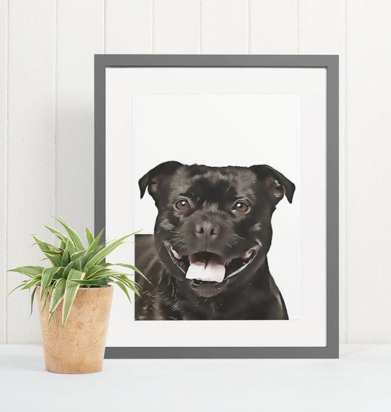 Staffordshire Bull Terrier | Art Print Poster | Room Decor | Wall Art Print | Gift Idea | A4 & A3 | Dog | Print Only