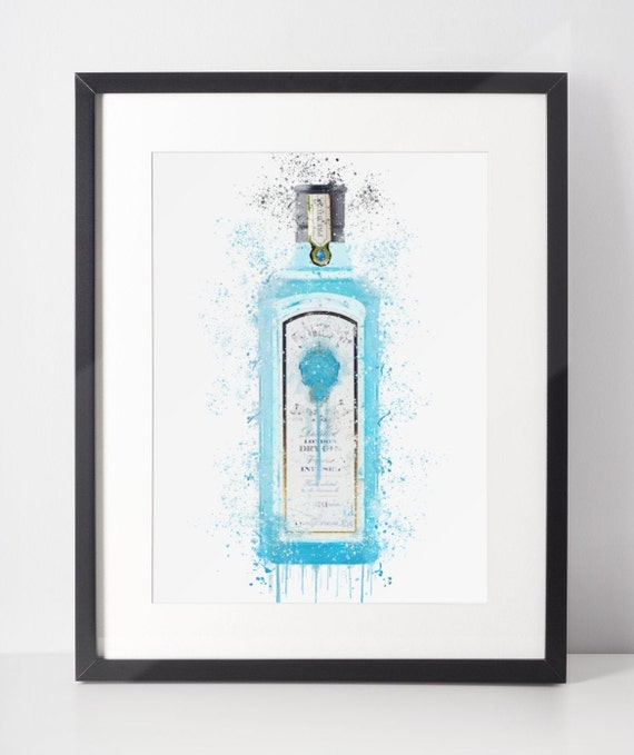 Gin Poster | Room Decor | Wall Art Print | Gift Idea | A4 & A3 | Turquoise | Print Only