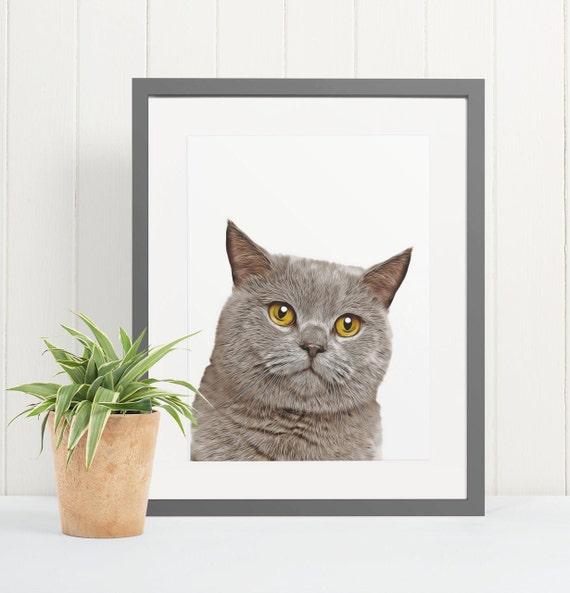British Shorthair Cat | Art Print Poster | Room Decor | Wall Art Print | Gift Idea | A4 & A3 | Cats | Print Only