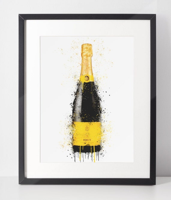 Champagne Poster | Room Decor | Wall Art Print | Gift Idea | A4 & A3 | Yellow | Print Only