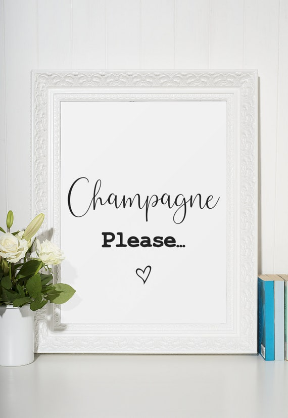 Champagne Word Poster | Room Decor | Wall Art Print | Gift Idea | A4 & A3 | Champagne Please | Print Only