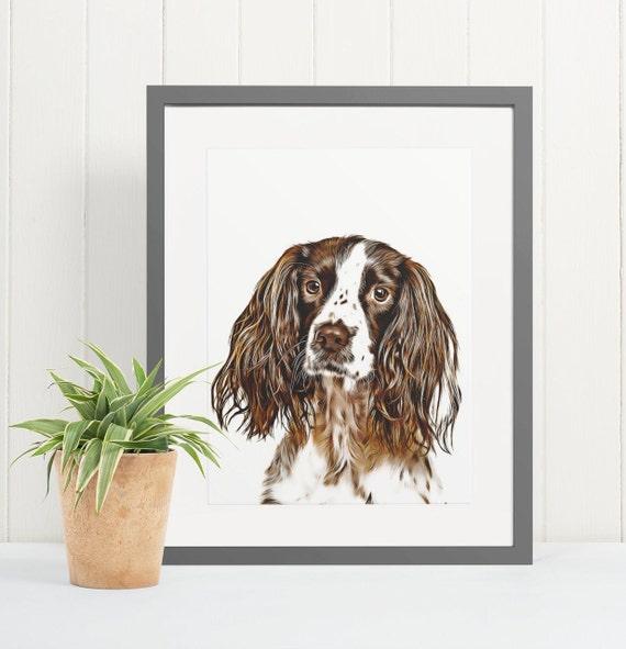 English Springer Spaniel | Art Print Poster | Room Decor | Wall Art Print | Gift Idea | A4 & A3 | Dog | Print Only