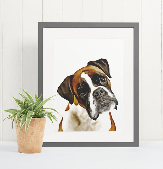Boxer | Art Print Poster | Room Decor | Wall Art Print | Gift Idea | A4 & A3 | Dog | Print Only