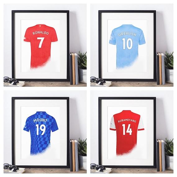 Football Shirt Poster |  Premier League Clubs | Football Players | Wall Art Print | Gift Idea | A4 & A3 | 2021-2022 Home Kit | Print Only