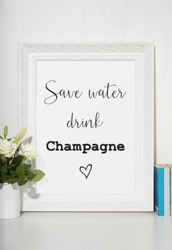 Champagne Word Poster | Room Decor | Wall Art Print | Gift Idea | A4 & A3 | Save Water Drink Champagne | Print Only