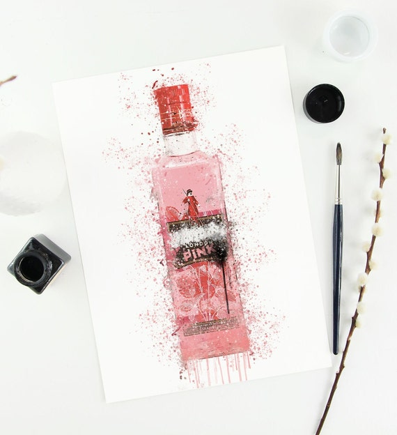 Gin Poster   Room Decor   Wall Art Print   Gift Idea   A4 & A3   Wild Pink   Print Only