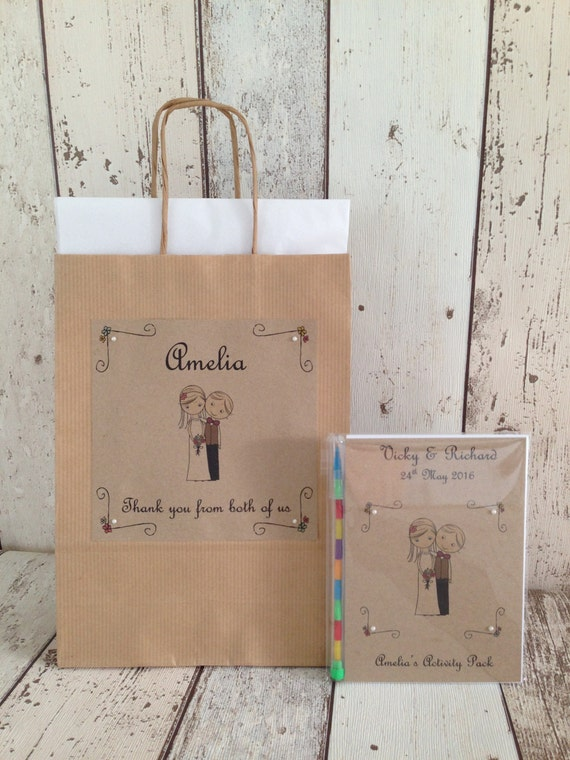 Personalised Children's Wedding Activity Pack and Gift Bag ~ Bride & Groom Favour A6 Vintage Style Brown