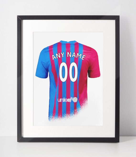 Custom Football Shirt Poster | Barcelona | Personalised | Wall Art Print | Gift Idea | A4 & A3 | 2021-2022 Home Kit | Print Only