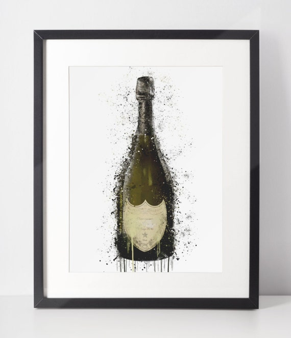Champagne Poster | Room Decor | Wall Art Print | Gift Idea | A4 & A3 | Vintage | Print Only