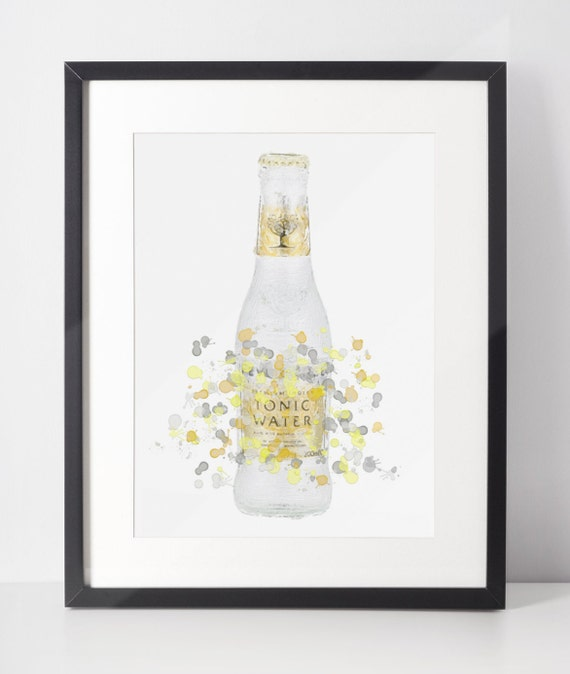 Gin Poster | Room Decor | Wall Art Print | Gift Idea | A4 & A3 | Yellow Tonic Bottle | Print Only
