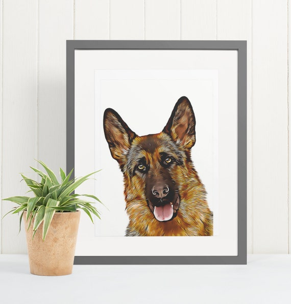 German Shepherd | Art Print Poster | Room Decor | Wall Art Print | Gift Idea | A4 & A3 | Dog | Print Only