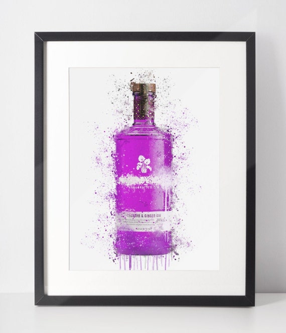 Gin Poster | Room Decor | Wall Art Print | Gift Idea | A4 & A3 | Purple | Print Only