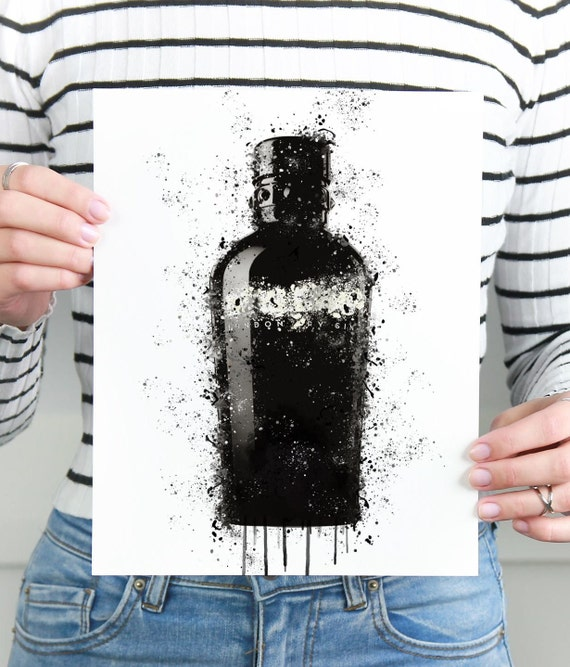 Gin Poster | Room Decor | Wall Art Print | Gift Idea | A4 & A3 | Black White | Print Only