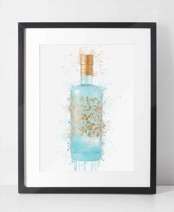 Gin Poster | Room Decor | Wall Art Print | Gift Idea | A4 & A3 | Sea Green | Print Only